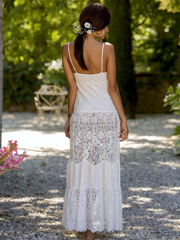 Marjolaine - Long dress in crepe and lace Manon