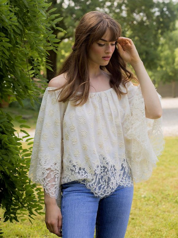 Marjolaine - Crepe and lace top Manon