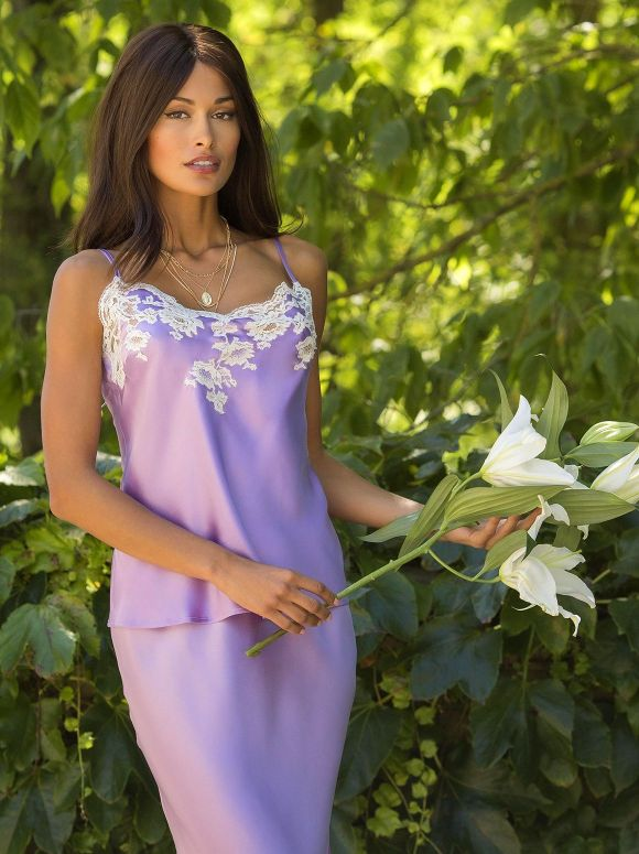 Marjolaine - Camisole Marjolaine in silk and Calais lace
